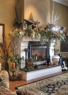 winter fireplace mantel decorations - fireplaces